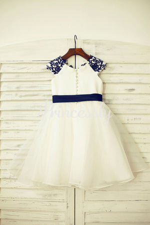Navy Blue Lace Ivory Satin Organza Flower Girl Dress with