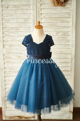Navy Blue Lace Tulle Cap Sleeves Wedding Flower Girl Dress