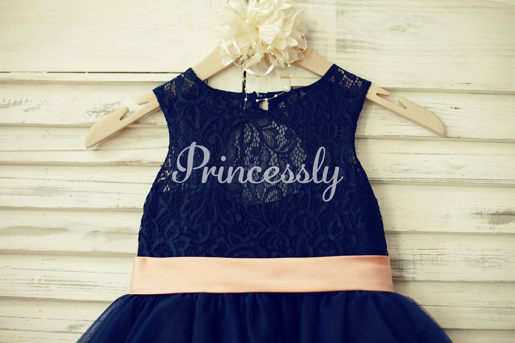 Navy Blue Lace Tulle Flower Girl Dress Keyhole Back with