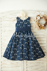 Navy Blue Lace Wedding Flower Girl Dress with Belt