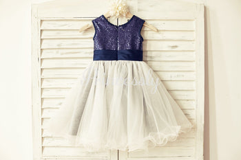Navy blue Sequin Ivory Tulle Flower Girl Dress with Navy