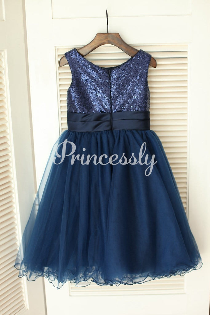 Navy Blue Sequin Tulle Wedding Flower Girl Dress