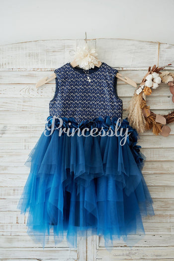 Navy Blue Sequin Tulle Wedding Flower Girl Dress with 3D