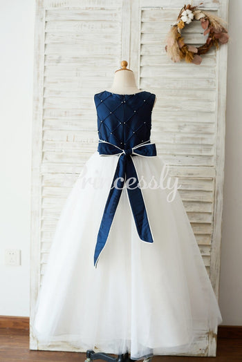 Navy Blue Taffeta Ivory Tulle Wedding Party Flower Girl