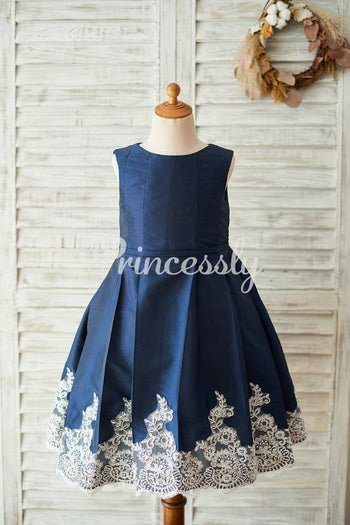 Navy Blue Taffeta Silver Lace Wedding Flower Girl Dress
