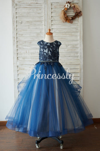 Navy Blue Tulle Organza V Back Wedding Flower Girl Dress