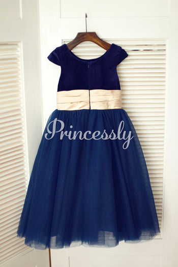 Navy Blue Velvet Tulle Cap Sleeve Wedding Flower Girl Dress