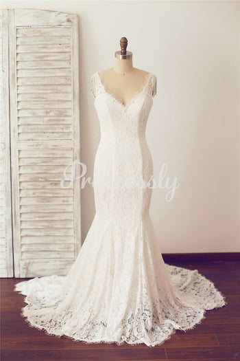 V Neck Backless Mermaid Lace Wedding Dress