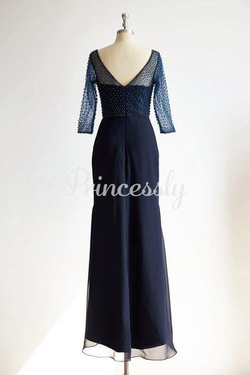 V Neck Elbow Length Sleeves Navy Blue Beaded Chiffon Tulle