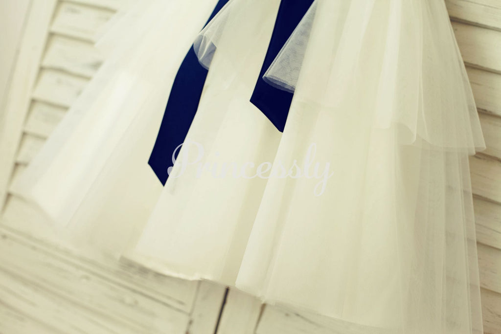 V Neck Ivory Satin Tulle Flower Girl Dress with Navy Blue