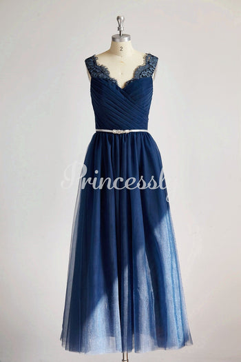 V Neck Navy Blue Lace Tulle Long Bridesmaid Dress / Wedding