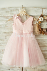 V Neck Pink Satin Tulle Wedding Party Flower Girl Dress