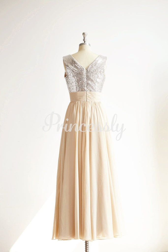 V Neck Silver Sequin Champagne Chiffon Long Bridesmaid Dress