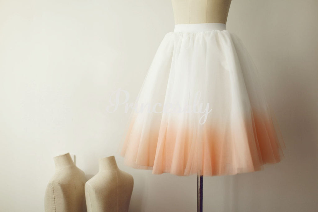 Ombre Ivory / Pink Tulle Skirt / Short Woman Skirt