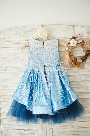 Ombre Sequin Navy Blue Tulle Wedding Flower Girl Dress
