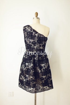 One Shoulder Black Lace Short Knee Length Wedding Bridesmaid