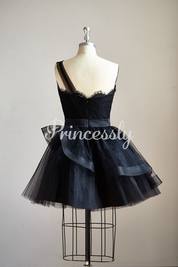 One Shoulder Black Lace Tulle Short Knee Prom Dress Cocktail