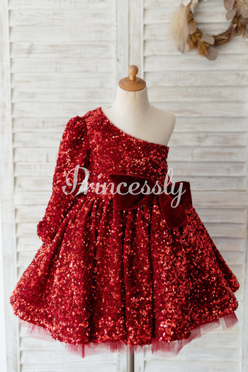 One Shoulder Burgundy Sequin Long Sleeves Wedding Flower