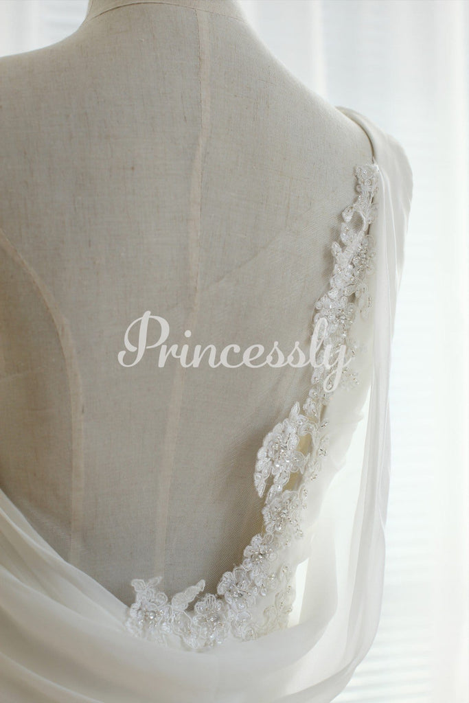 One shoulder Chiffon Sheer Tulle Back with lace Beading