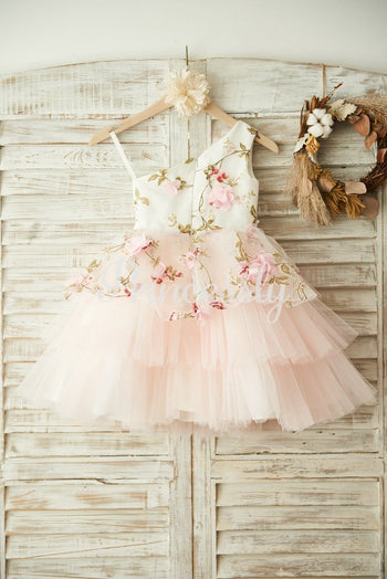 One Shoulder Floral Organza Pink Tulle Cupcake Wedding