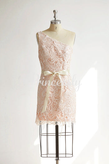One Shoulder Ivory Lace Pink Ling Short Wedding Bridesmaid