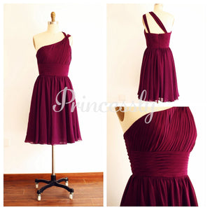 One Shoulder Plum Purple A line Short Knee Length Bridesmaid
