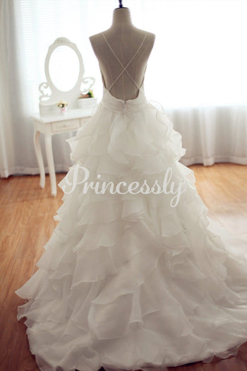 Organza Ball Gown Wedding Dress Backless Dress