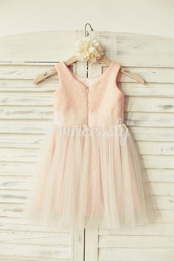 Peach Pink Sequin Tulle Flower Girl Dress
