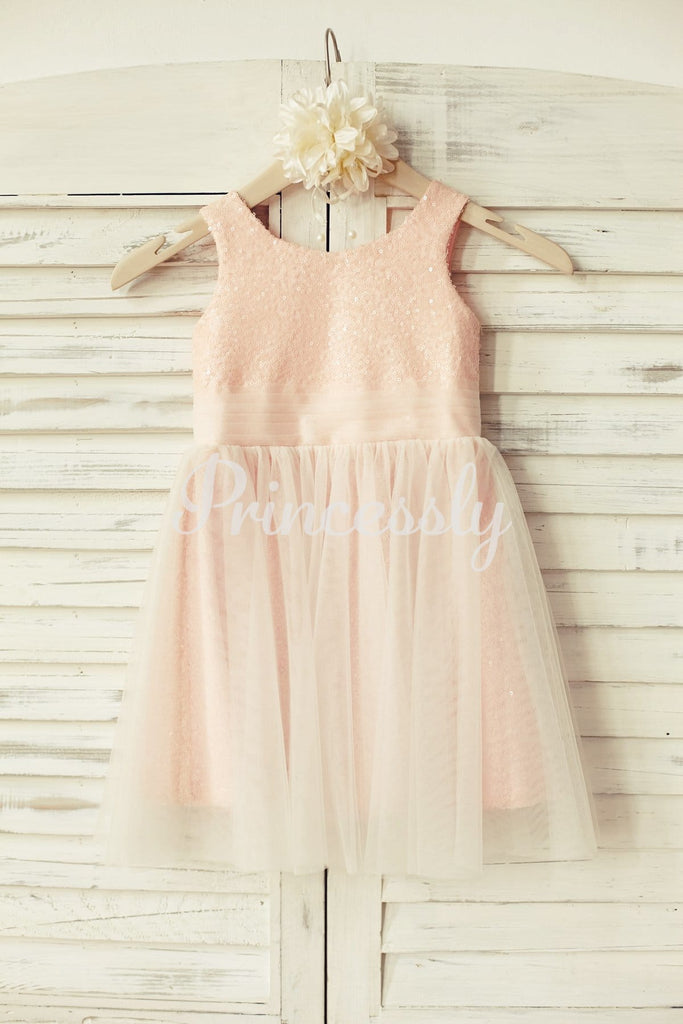 Peach Pink Sequin Tulle Flower Girl Dress - 2T / Blush Pink