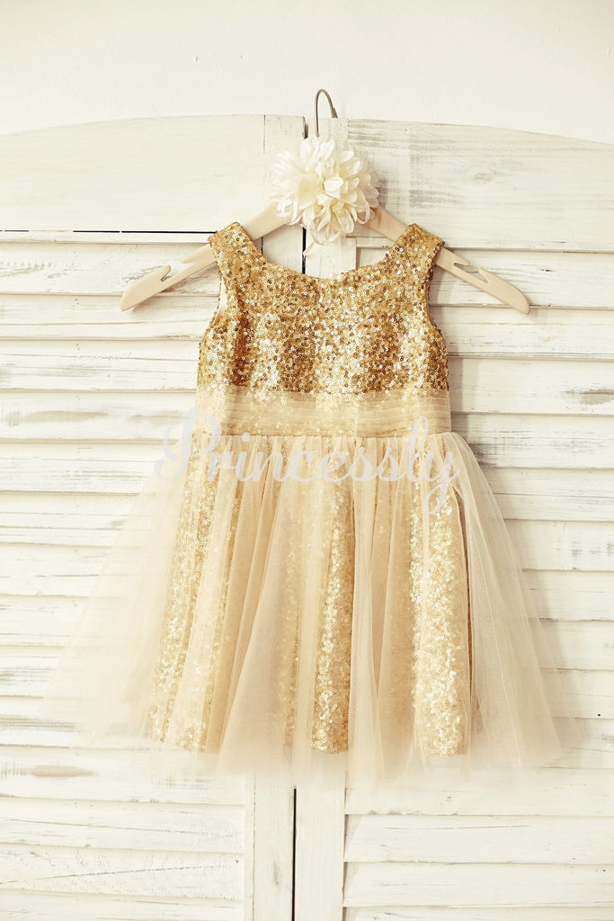 Peach Pink Sequin Tulle Flower Girl Dress - 2T / Gold