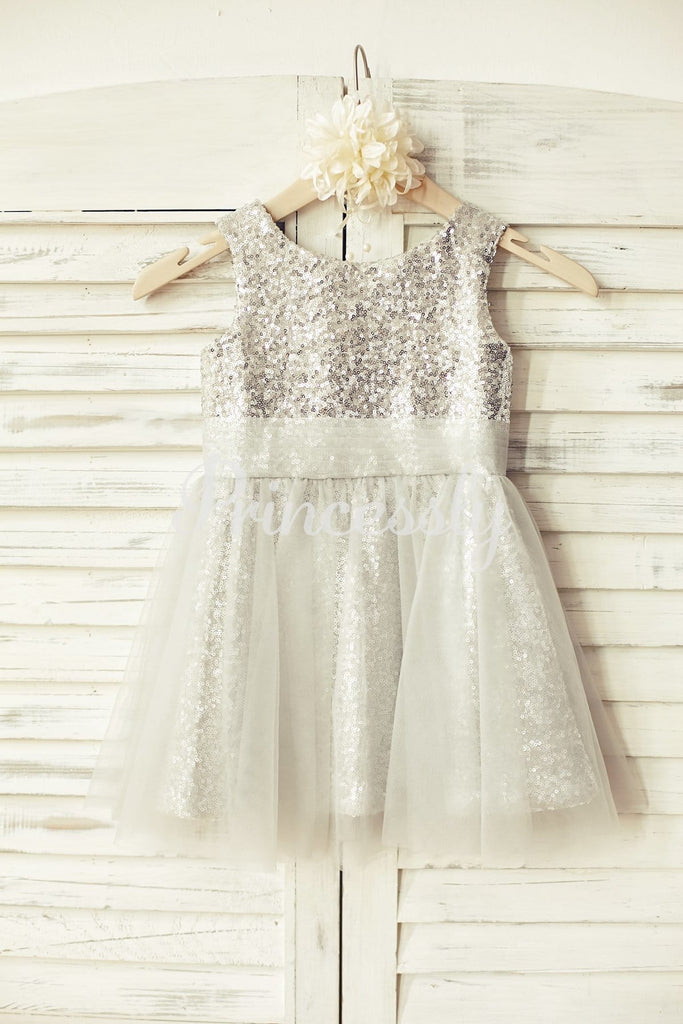 Peach Pink Sequin Tulle Flower Girl Dress - 2T / Silver