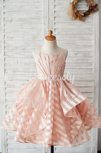 Peach Pink Stripe Organza Spaghetti Straps Wedding Flower