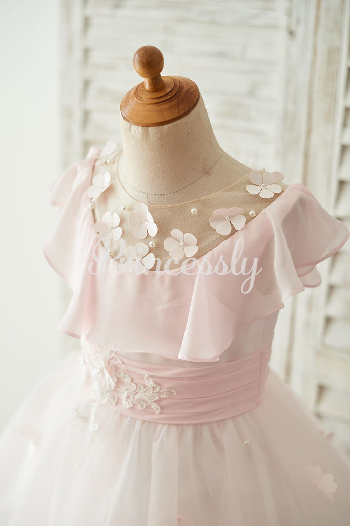 Pink Chiffon Tulle Sheer Neck Wedding Flower Girl Dress