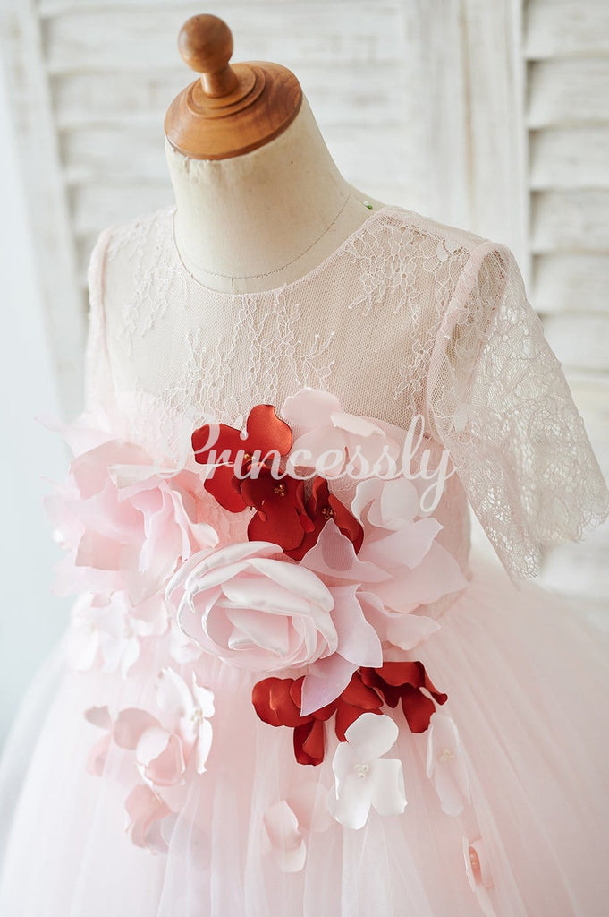 Pink Lace Tulle 3D Flowers Elbow Sleeves Sheer Back Wedding