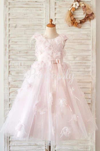 Pink Lace Tulle V Back Wedding Flower Girl Dress with