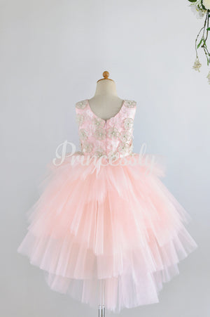 Pink Satin Tulle 3D Flowers Hi-low Wedding Flower Girl Dress
