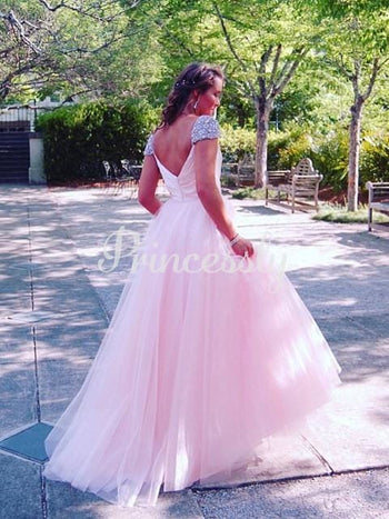 Pink Satin Tulle Beaded Cap Sleeves V Back Wedding Party