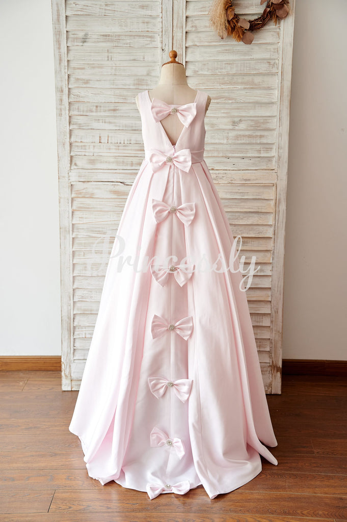 Pink Satin V Back Wedding Flower Girl Dress with Bows
