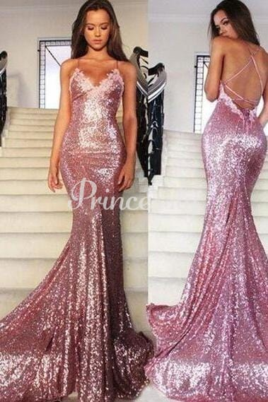 Pink Sequin Lace Spaghetti Straps Backless Wedding Prom