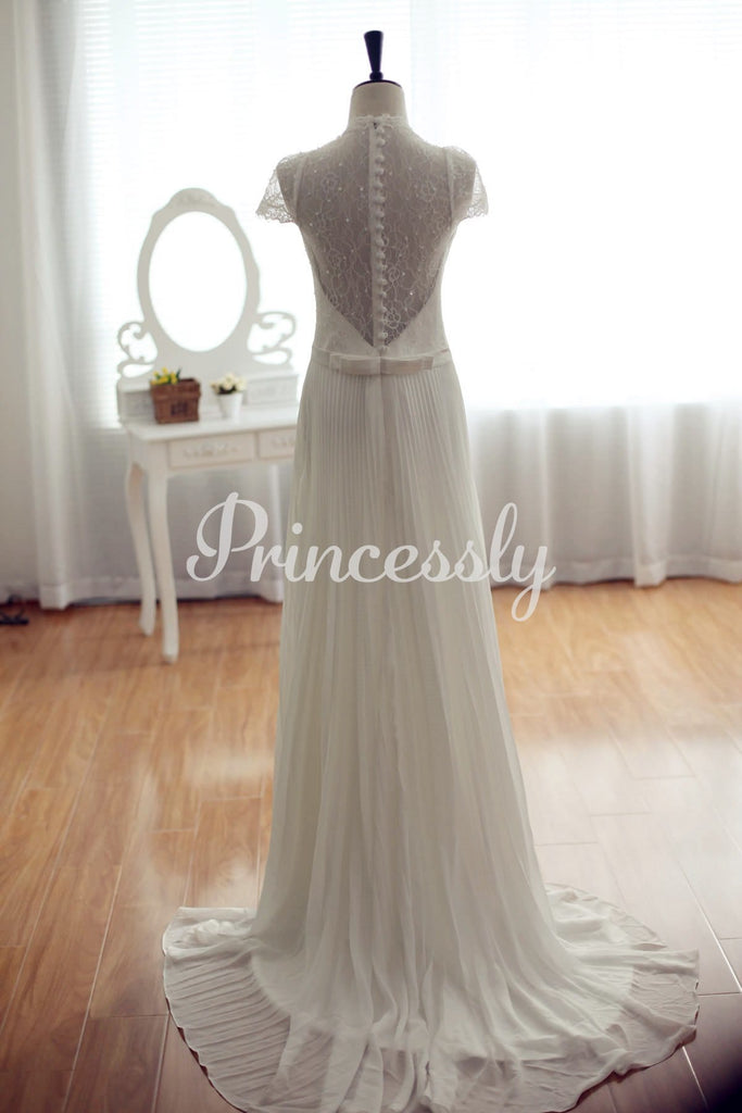 Pleated Column Wedding Dress w/ Full Lace Back Tulip Cap