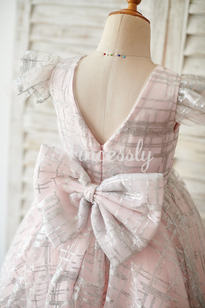 Princess Cap Sleeves V Back Pink Tulle Silver Sequin Wedding