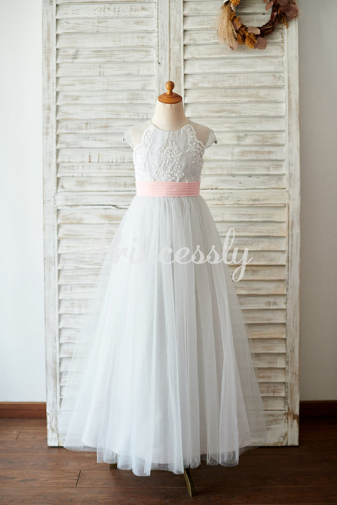 Princess Cap Sleeves Silver Gray Lace Tulle Wedding Flower