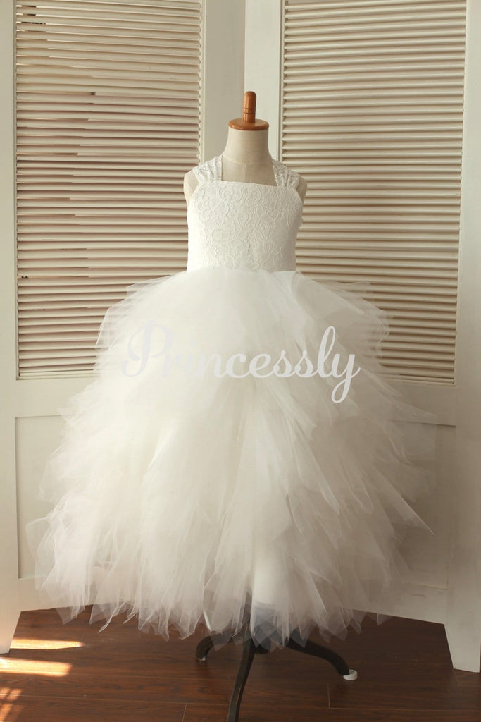 Princess Cross Back Ivory Lace Ruffle Tulle Skirt Flower