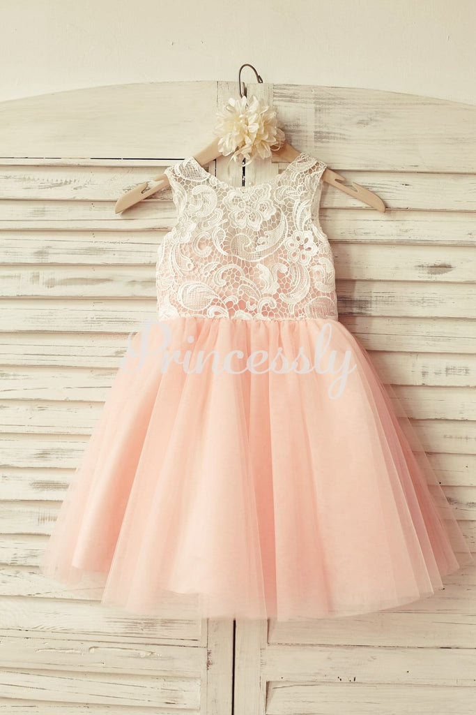 Princess Ivory Lace Blush Pink Tulle Flower Girl Dress - 2T