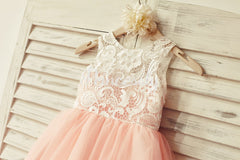 Princess Ivory Lace Blush Pink Tulle Flower Girl Dress