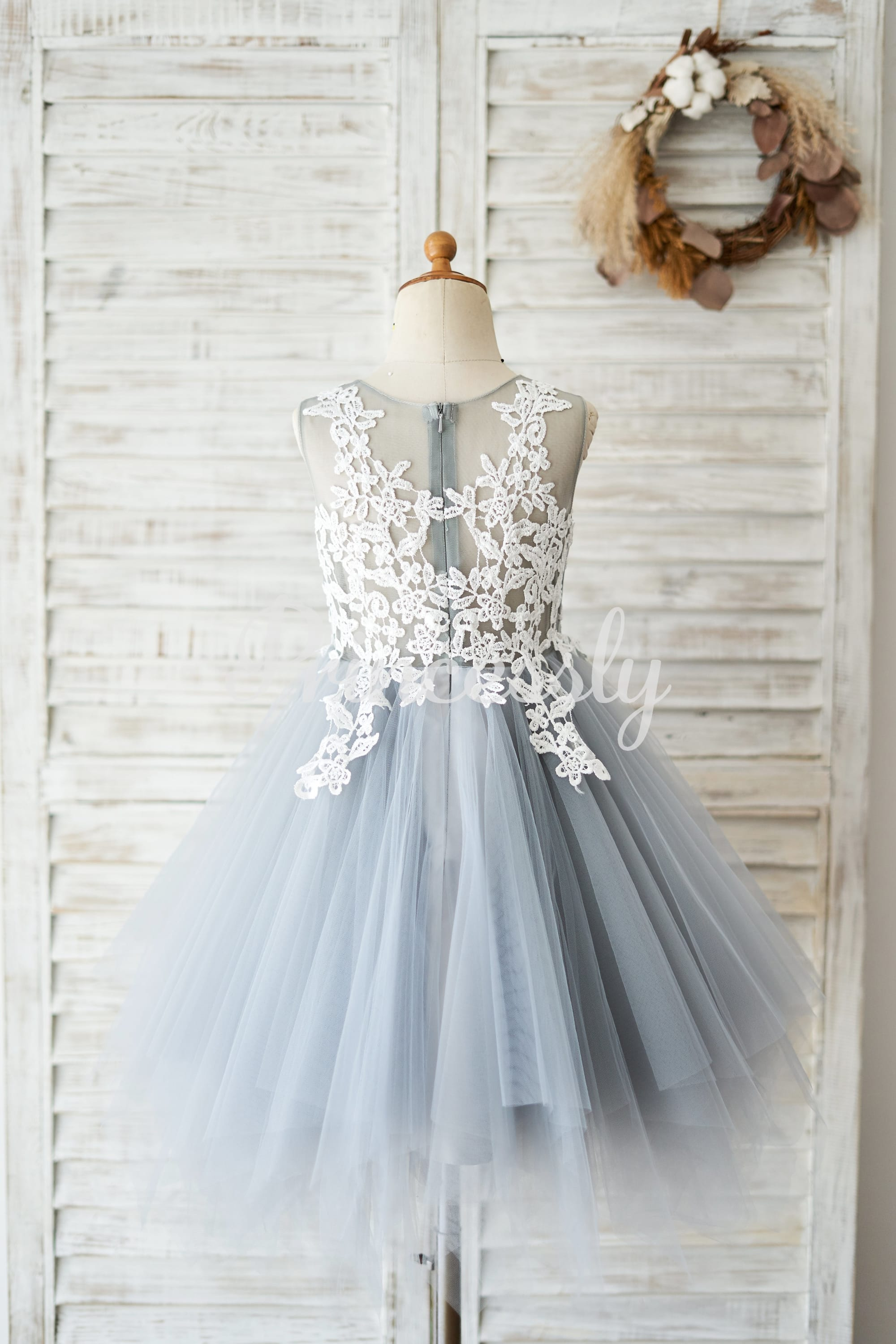 Princess Ivory Lace Gray Tulle Wedding Flower Girl Dress