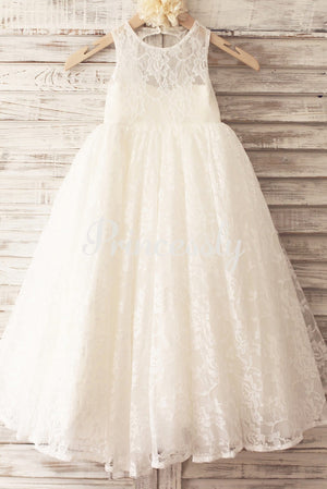Princess Ivory Lace Keyhole Back Floor Length Wedding Flower