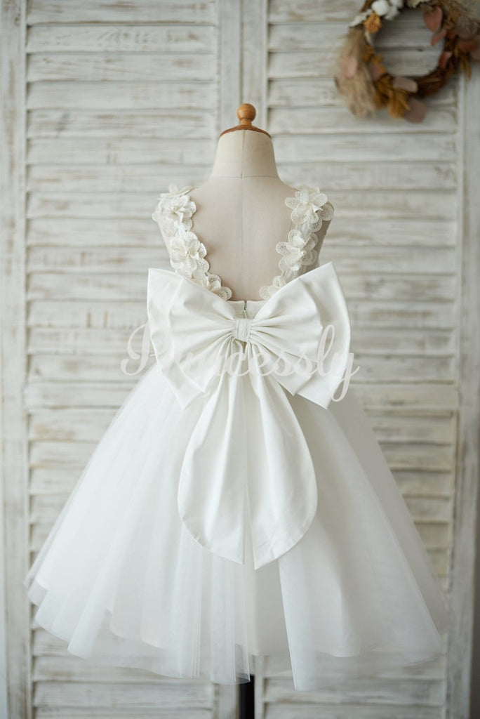 Princess Ivory Lace Tulle V Back Wedding Flower Girl Dress