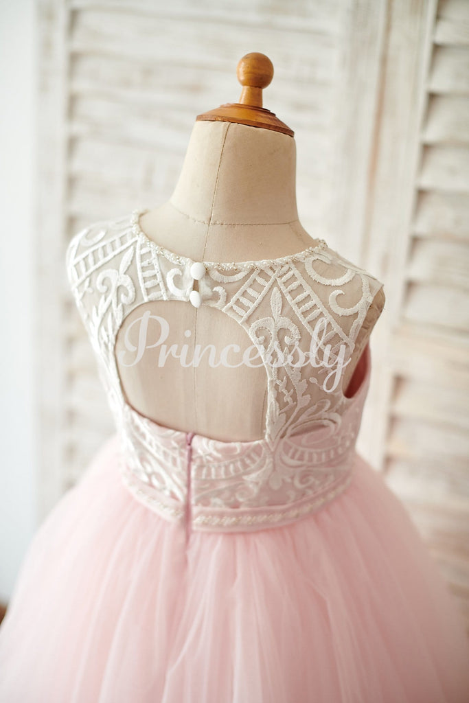 Princess Keyhole Back Ivory Lace Pink Tulle Wedding Flower