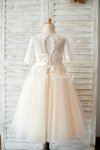 Princess Short Elbow Sleeves Ivory Lace Champagne Tulle